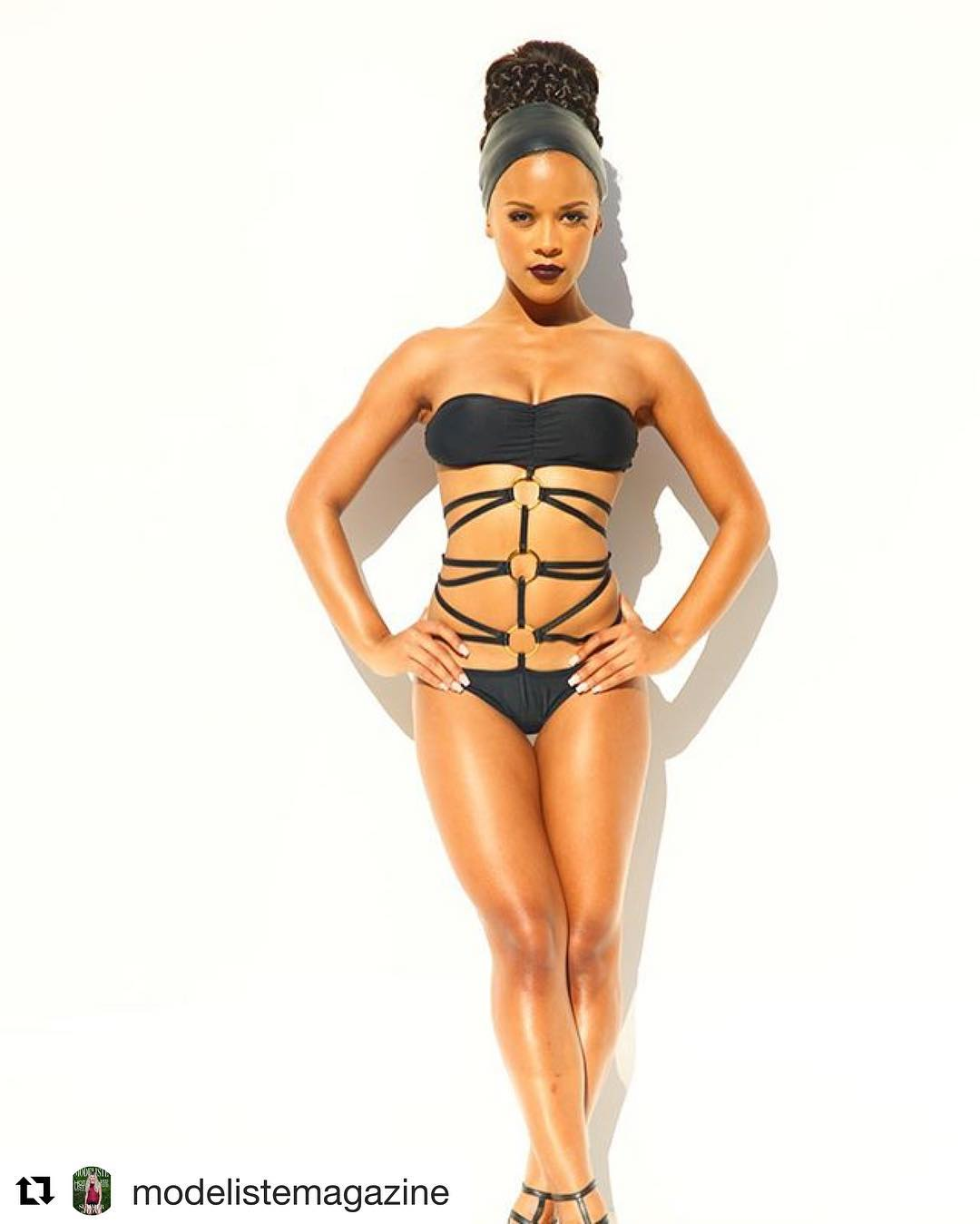 Serayah Mcneill Wearing A Black Bathing Suit Empire Bbk